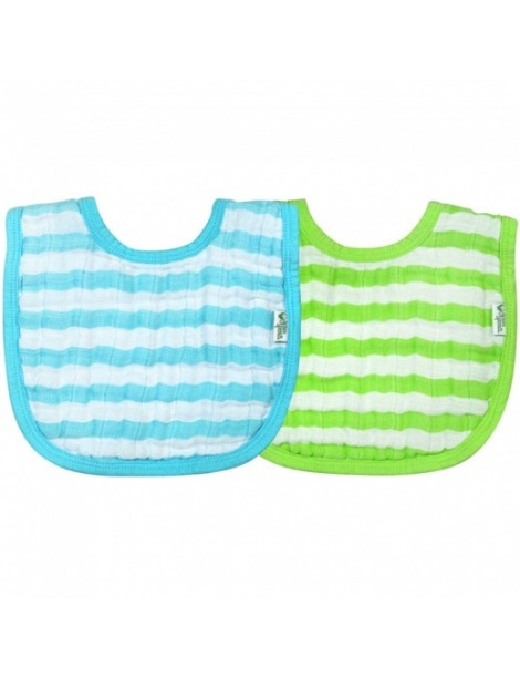 Green Sprouts - Muslin Bibs Organic Cotton (2 pack) - Aqua & Green - 0-12m