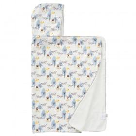 Fresk: Hooded towel 100% organic cotton-Fox blue
