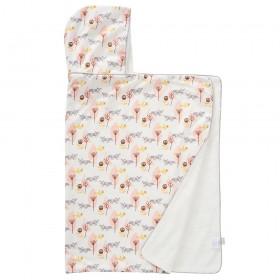 Fresk: Hooded towel 100% organic cotton-Fox pink