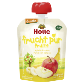 HOLLE ORGANIC POUCH APPLE & BANANA  4+ 90G