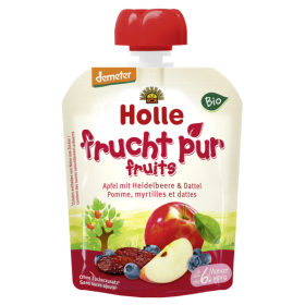 HOLLE ORGANIC POUCH APPLE & BLUEBERRIES WITH DATES 6+ 90G