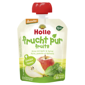 HOLLE ORGANIC POUCH     PEAR &  APPLE  WITH  SPINACH  6+  90G