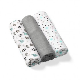 BabyOno: Set of 3 soft muslin diapers- Grey