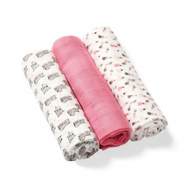 BabyOno: Set of 3 soft muslin diapers-Pink
