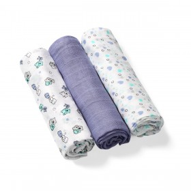BabyOno: Set of 3 soft muslin diapers- Purple