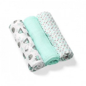 BabyOno: Set of 3 soft muslin diapers- Mentol