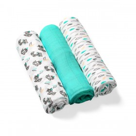 BabyOno: Set of 3 soft muslin diapers -Turquoise