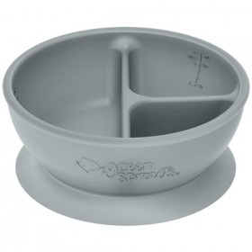 Green Sprouts - Silicone divided suction Learning Bowl - Grey