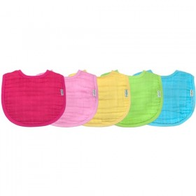 Green Sprouts- Muslin Bibs Organic Cotton (5 pack) - Pink - 0-12m
