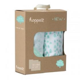 Hoppa Muslin Swaddle Blanket made from Organic Cotton white/mint 2pcs