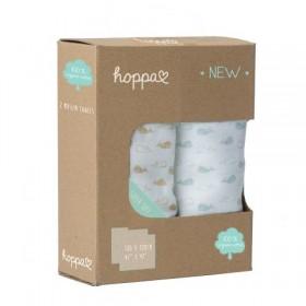 Hoppa Muslin Swaddle Blanket made from Organic Cotton blue/stone 2pcs