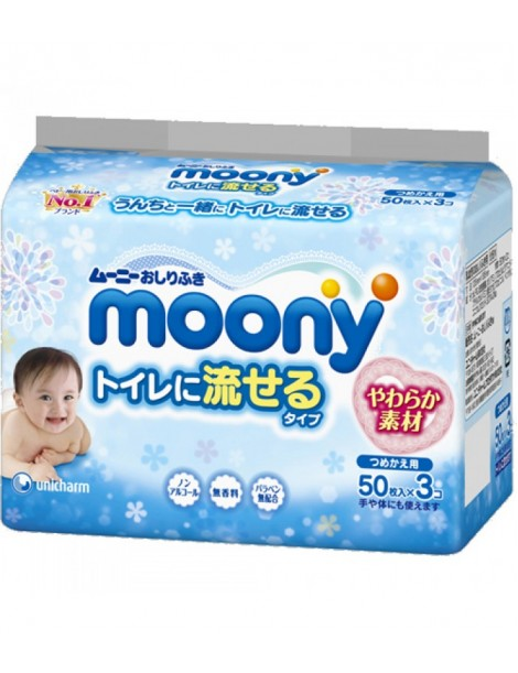 MOONY Flushable Wipes Refill 50pcs×3