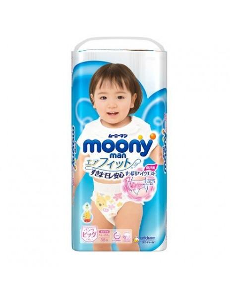 Moony pull-up nappies girls XL (12-22 kg) 38 pcs