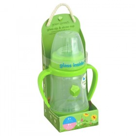 Green Sprouts - Glass Sip & Straw Cup - Green