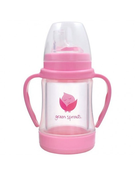 Green Sprouts - Glass Sip & Straw Cup - Pink