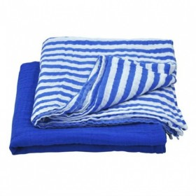 Green Sprouts - Muslin Swaddle Blanket Organic Cotton (2 pack) -Royal Blue