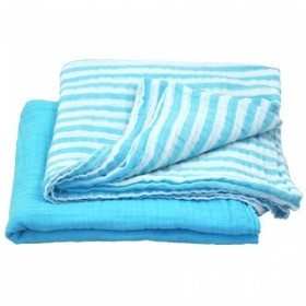 Green Sprouts - Muslin Swaddle Blanket Organic Cotton (2 pack) -Aqua
