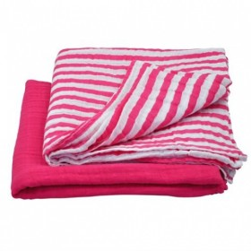 Green Sprouts - Muslin Swaddle Blanket Organic Cotton (2 pack) -Hot Pink