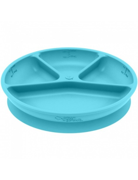 Green Sprouts - Silicone divided suction Learning Plate - Aqua