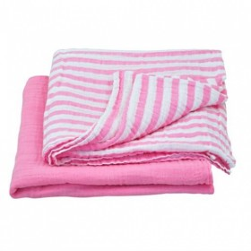 Green Sprouts - Muslin Swaddle Blanket organic cotton (2 pack) -Pink