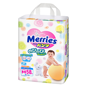 Merries M pull-up nappies  (6-10 kg) 58 pcs