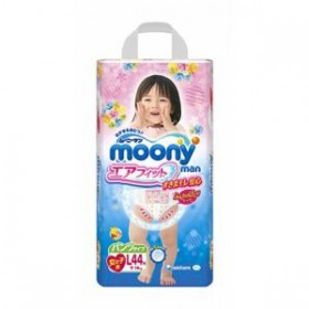 Moony pull-up nappies girls L (9-14 kg) 44 pcs