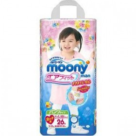 Moony pull-up nappies girls XXL (13-25 kg) 26 pcs