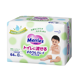 Merries Flushable Wipes Refill  64pcs×3