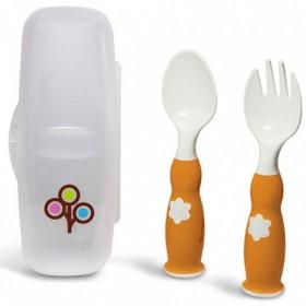 ZoLi - FORK & SPOON - ergonomic fork & spoon set - Orange