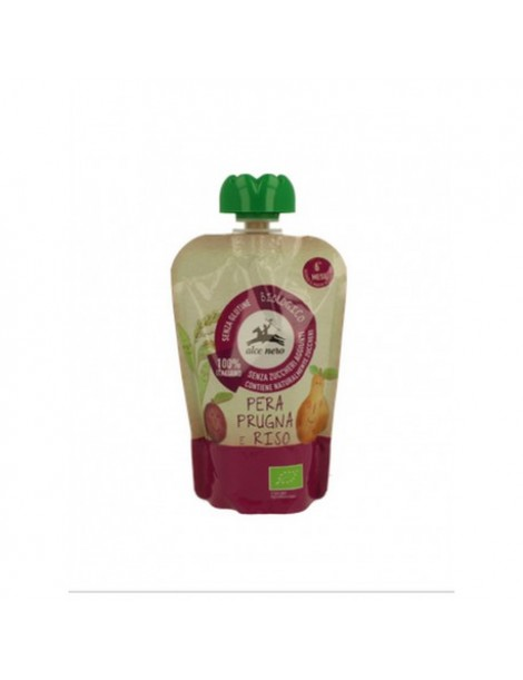 Alce Nero Pear,Plum & Rice 100g 6+